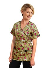 100% POLYESTER PRINTED MOCK WRAP TOPS