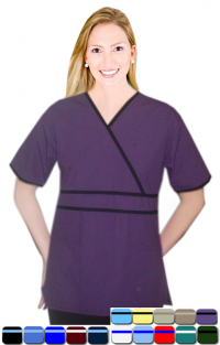 DOUBLE PIPING CROSSOVER SOLID TOP 2 POCKET HALF SLEEVE