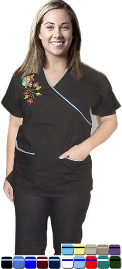 MOCK WRAP 5 POCKET HALF SLEEVE EMBROIDERED SET