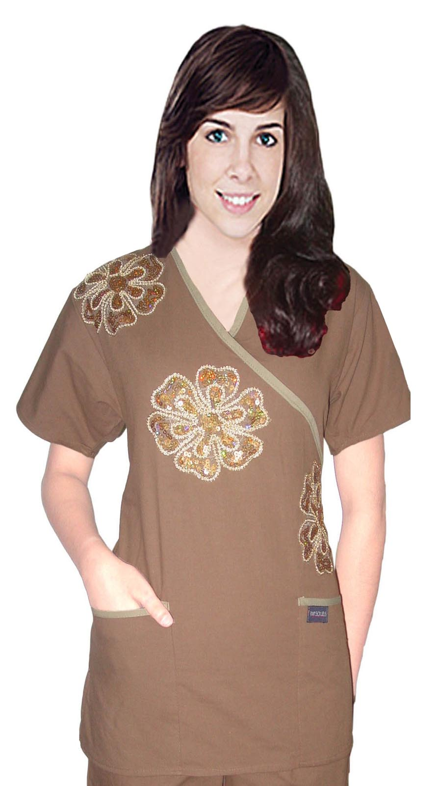 STYLISH TOP Big Golden Flower Crossover  Top