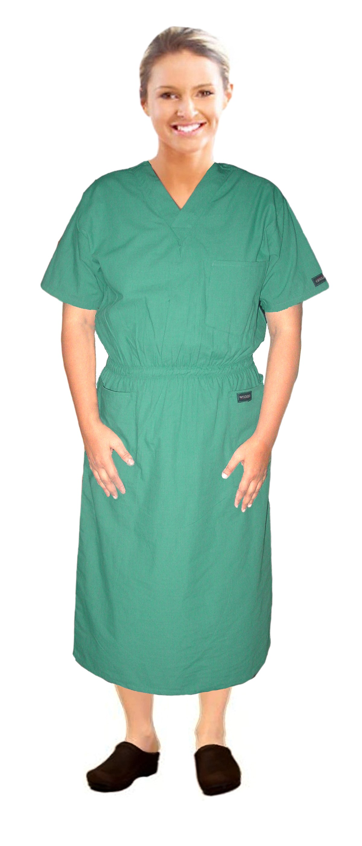 MICROFIBER NURSING DRESS HALF SLEEVE ELASTIC WAIST V NECK