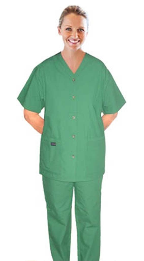 Scrub set 6 pocket v neck ladies half sleeves (top 4 pkt with horn buttons (pocket over pocket style) with pencil pkt pant 2 pkt boot cut)