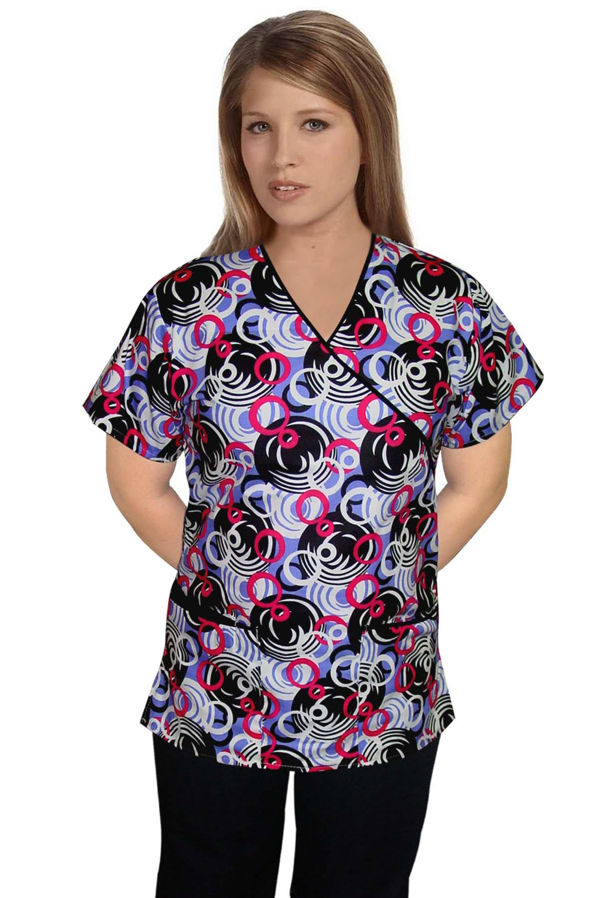 Printed scrub set mock wrap 5 pocket half sleeve in ring print with black piping (top 3 pocket with bottom 2 pocket boot cut)