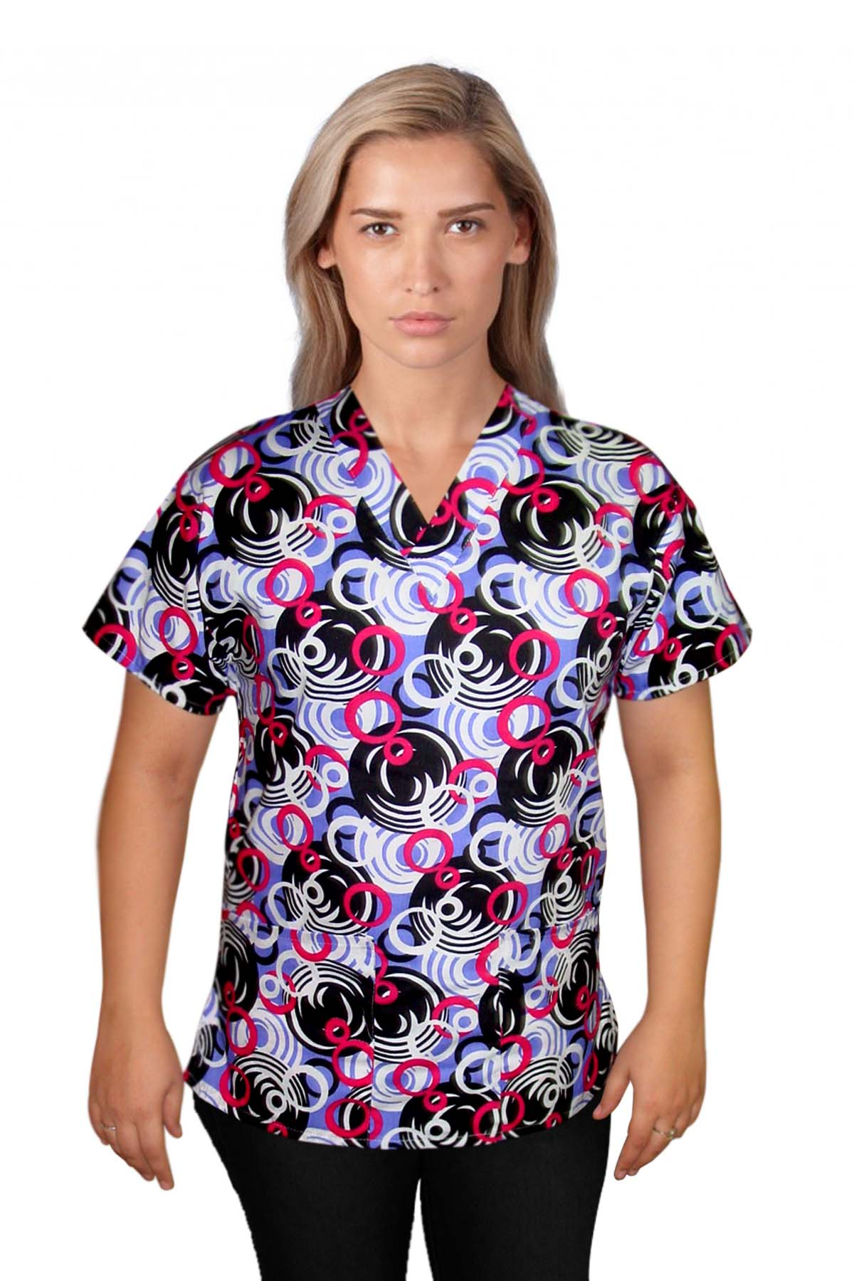 Top v neck 2 pocket half sleeve in ring print