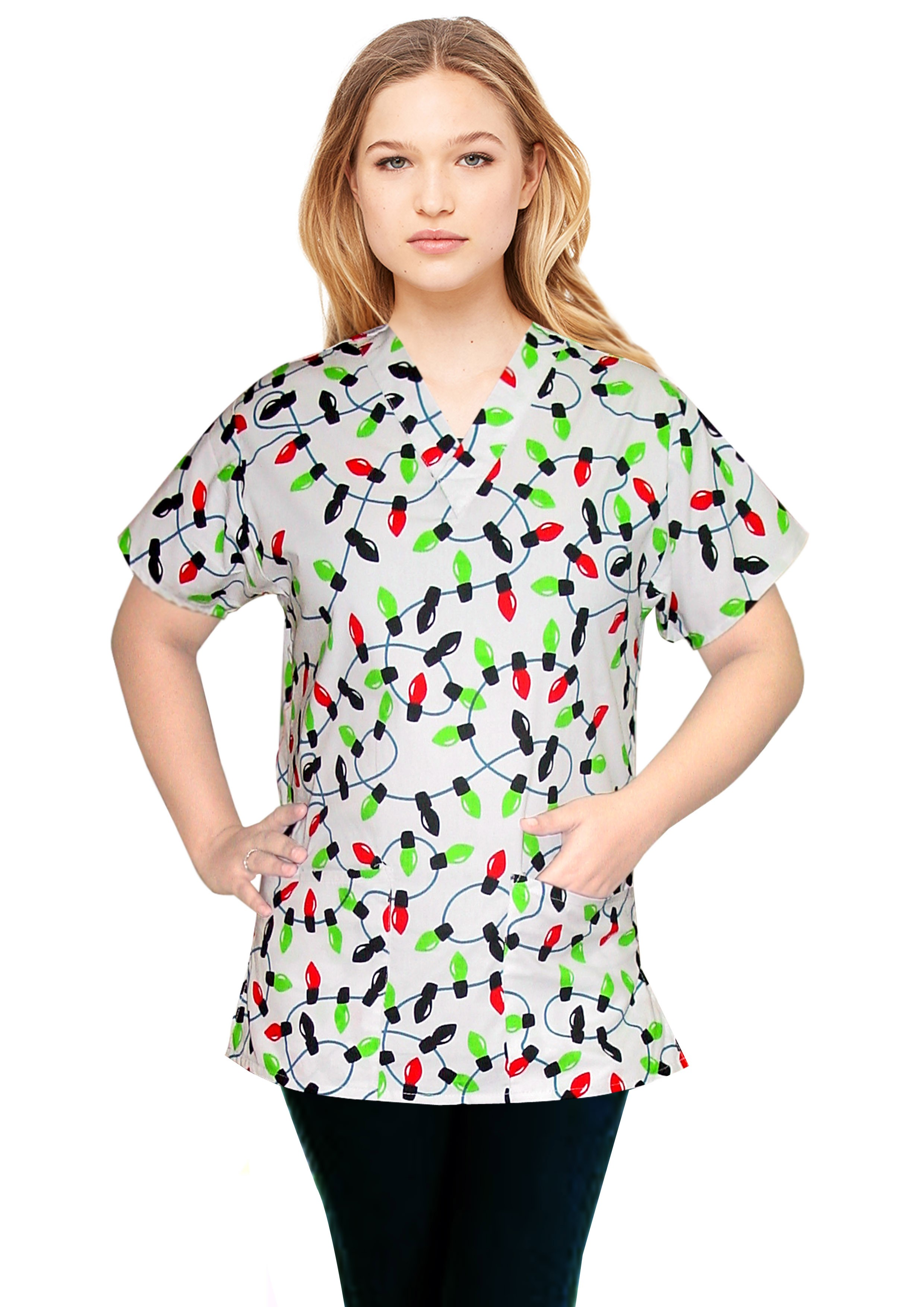 Top v neck 2 pocket half sleeve in light print