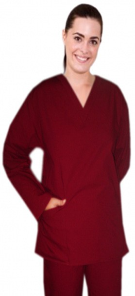 Stretchable Top v neck 2 pocket solid unisex full sleeve in 97% Cotton 3% Spandex