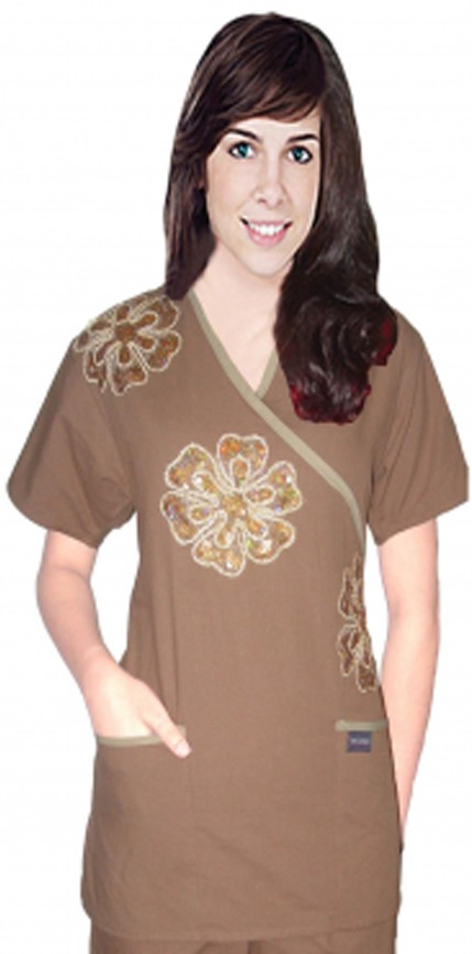 Stylish top big golden flower crossover  top 2 pocket half sleeve