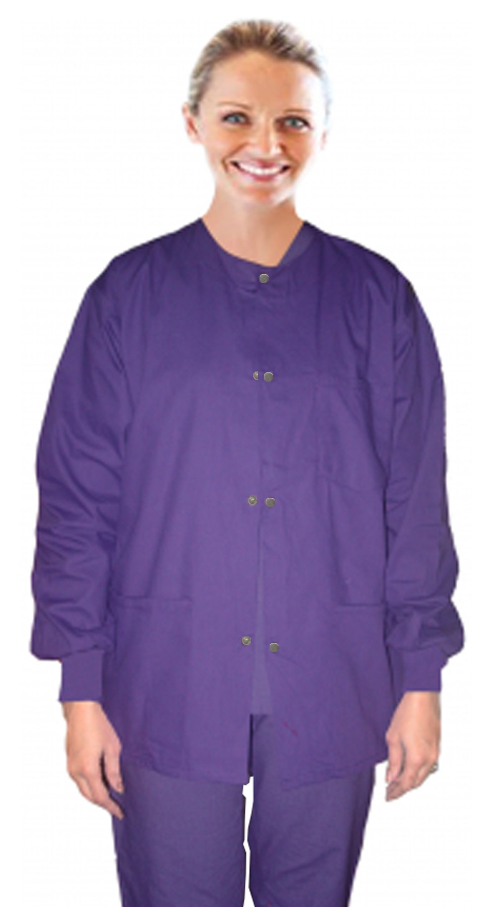 Scrub jacket 3 pocket solid full sleeve with rib snap button