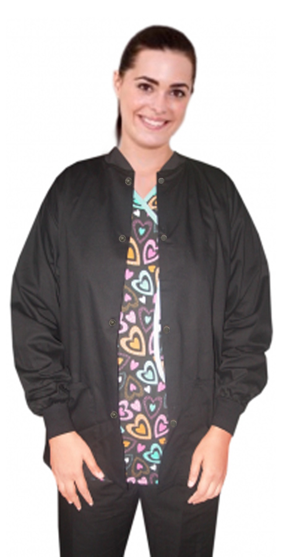 Jacket 2 pocket solid unisex full sleeve with rib at neck and sleeves with snap button
