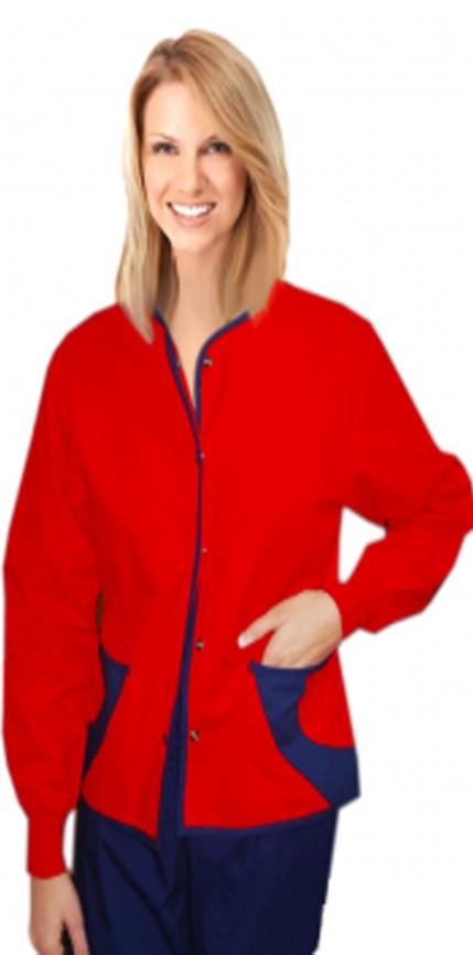 Jacket 2 pocket ladies hip flip full sleeve short length style jacket with rib