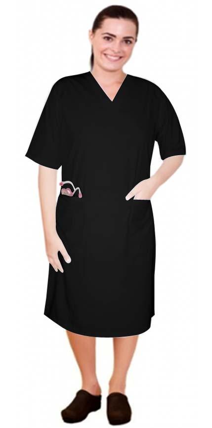 Microfiber v neck half sleeve nursing dress with 2 front pockets knee length