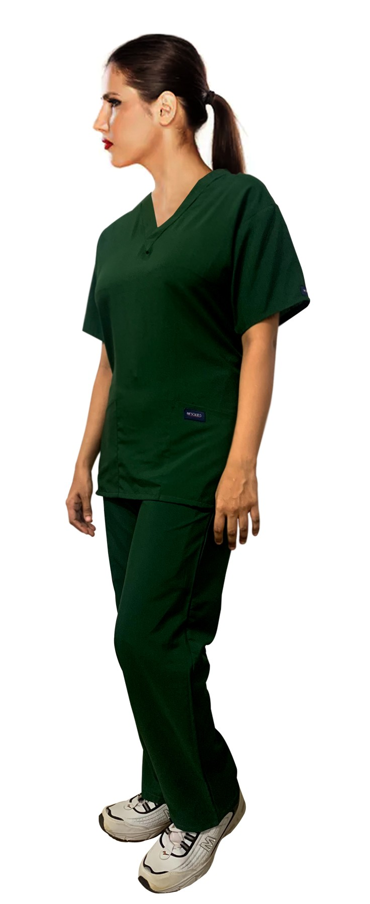 Only For USA Customers FINAL MARKDOWN Microfiber (100% Polyester) Hunter (Light/Dark) Green Scrub set 4 pocket  unisex half sleeves S,M,L (2 pkt top, 2 pkt pant elastic drawstring with cord)