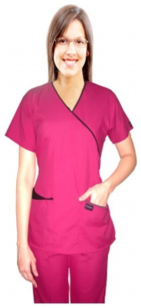 Microfiber scrub set mock wrap 5 pocket half sleeve  (top 3 pocket with bottom 2 pocket boot cut)