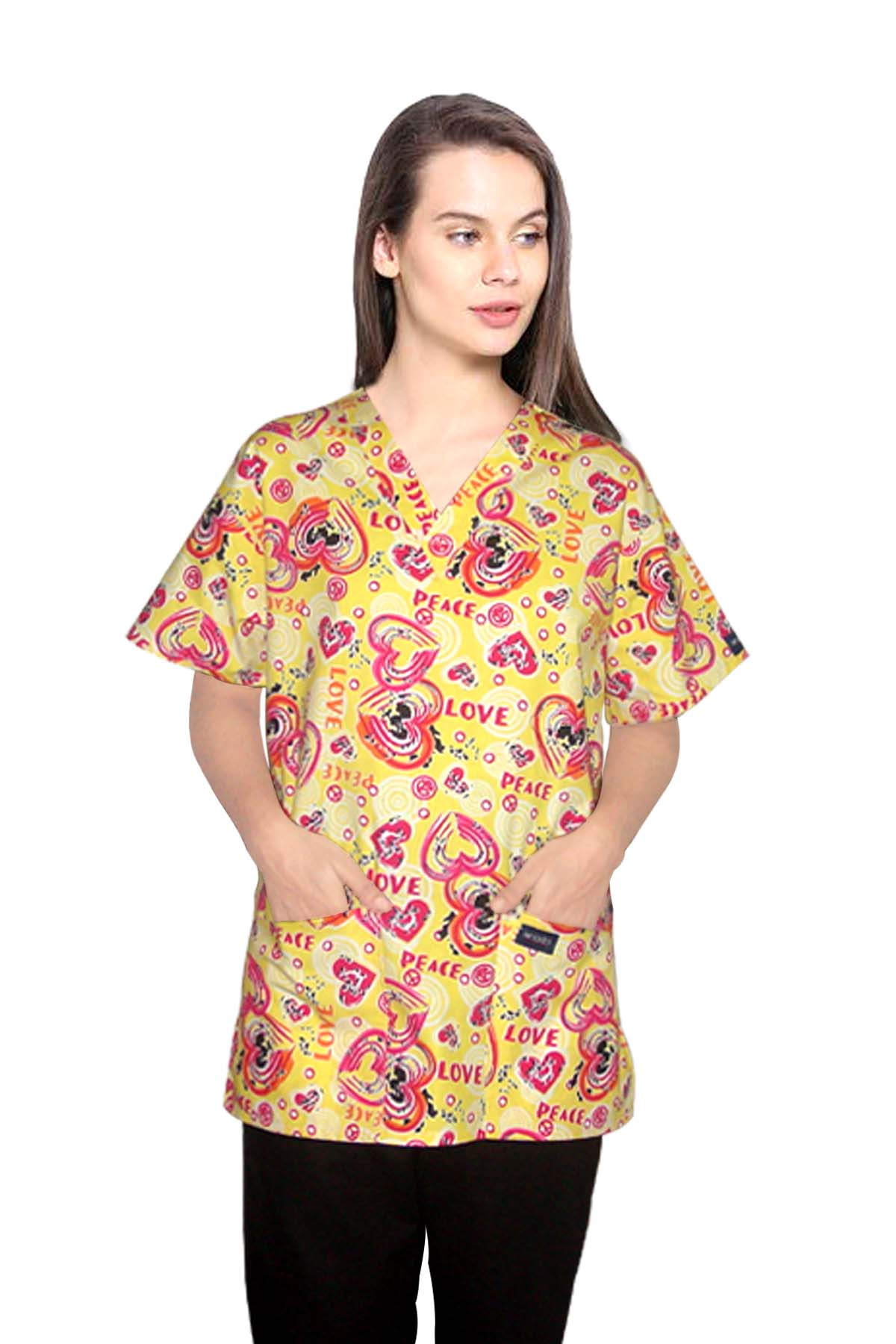 Top v neck 2 pocket half sleeve in love peace yellow