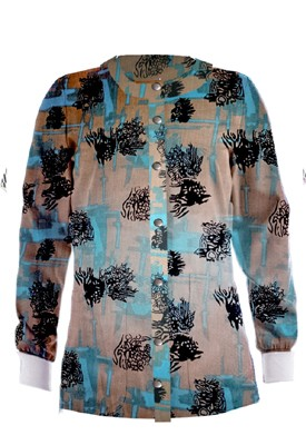 Jacket 2 pocket printed unisex full sleeve in Turquoise and Black Obstract art print with rib