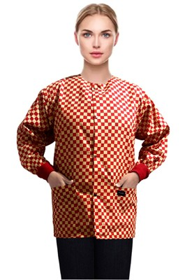 Jacket 2 pocket printed unisex full sleeve in Red Square Print with rib