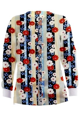 Jacket 2 pocket printed unisex full sleeve in Red and Beige flowers with blue background with rib