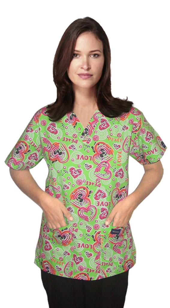 Printed scrub set 4 pocket ladies half sleeve in love peace green (2 pocket top and 2 pocket pant)