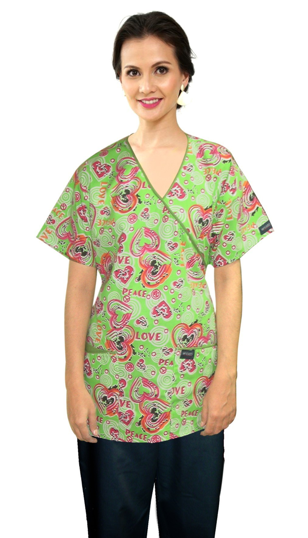 Top mock wrap 3 pocket half sleeve in love peace green print with parrot green piping