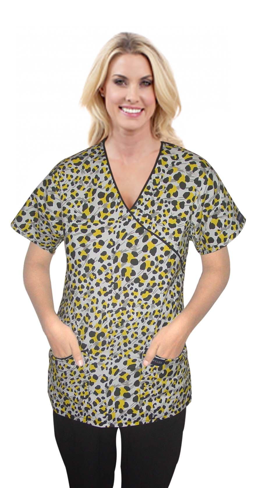 Top mock wrap 3 pocket half sleeve in yellow and black print with black piping