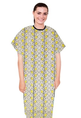 Patient gown half sleeve  printed back open, Yellow petal and Grey print with black piping, Sizes XS-9X