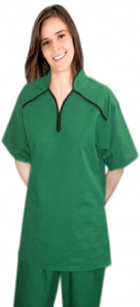 Microfiber m style collar 4 pocket ladies scrub set half sleeve (top 2 pkt with bottom 2 pkt boot cut)