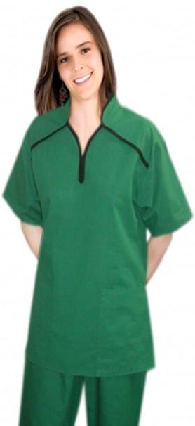 M style collar 4 pocket ladies scrub set half sleeve (top 2 pkt with bottom 2 pkt boot cut)