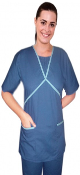 Ruffle at neck double crossover style 2 pocket top half sleeve