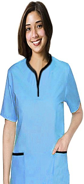 Top 2 pocket ladies half sleeve tunic top style solid