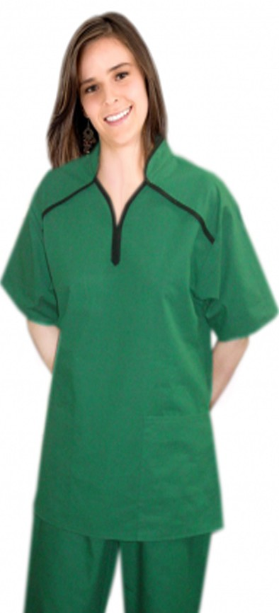 Top 2 pocket m style half sleeve collar ladies scrub top