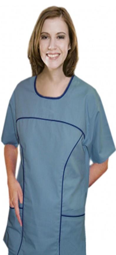 Top 4 pocket scoop neck half sleeve contrast piping