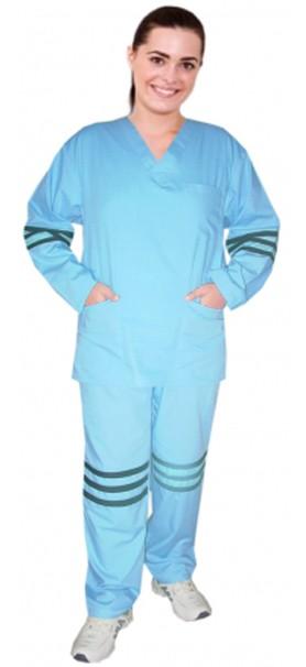 Microfiber stripes style ladies v-neck 5 pocket set full sleeve (3 pocket top and 2 pocket pant)