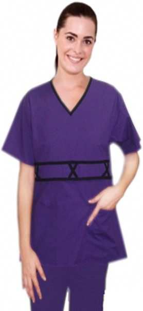 V-neck double piping 3 cross style 5 pocket set half sleeve (top 2 pocket with bottom 3 pocket)