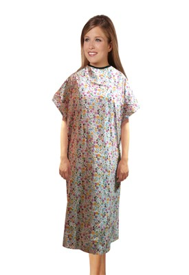 Patient gown half sleeve printed  back open, Multi Flower Print, Sizes XS-9X