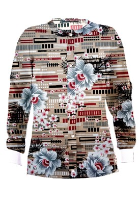 Jacket 2 pocket printed unisex full sleeve in Flower and Shapes Print with rib