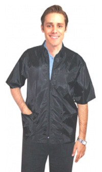 Clearance barber jacket 3 pocket half sleeve with zipper in (nylon fabric) 100 perc polyster in Black color