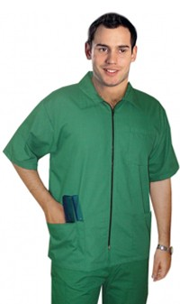 Barber set with collar 6 pockets half sleeve  (jacket 3 pocket with bottom 3 pocket unisex ) poplin fabric
