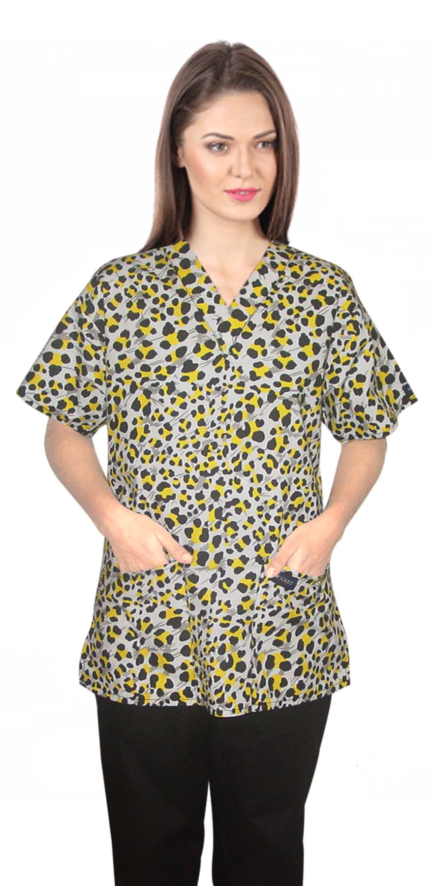 Top v neck 2 pocket half sleeve in yellow and black print