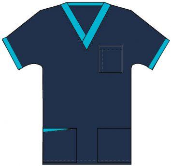 Top v neck 3 pocket half sleeve unisex with 1 pencil pocket at front pocket contrast at pocket style