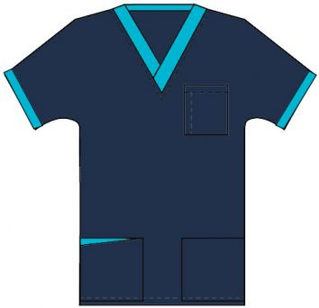 Top v neck 3 pocket half sleeve unisex with 1 pencil pocket contrast  royal perth hospital