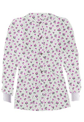 Jacket 2 pocket printed unisex full sleeve in pink and black flower with rib