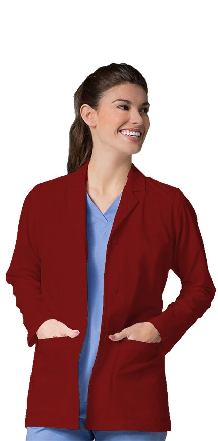 """Stretch labcoat unisex full sleeve with plastic buttons 3 pocket solid (35% Cotton, 63% Polyester, 2% Spandex) in 36"""" 38"""" 40"""" 42""""  lengths"""
