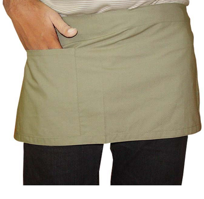 Waist apron solid short with 1 front pocket