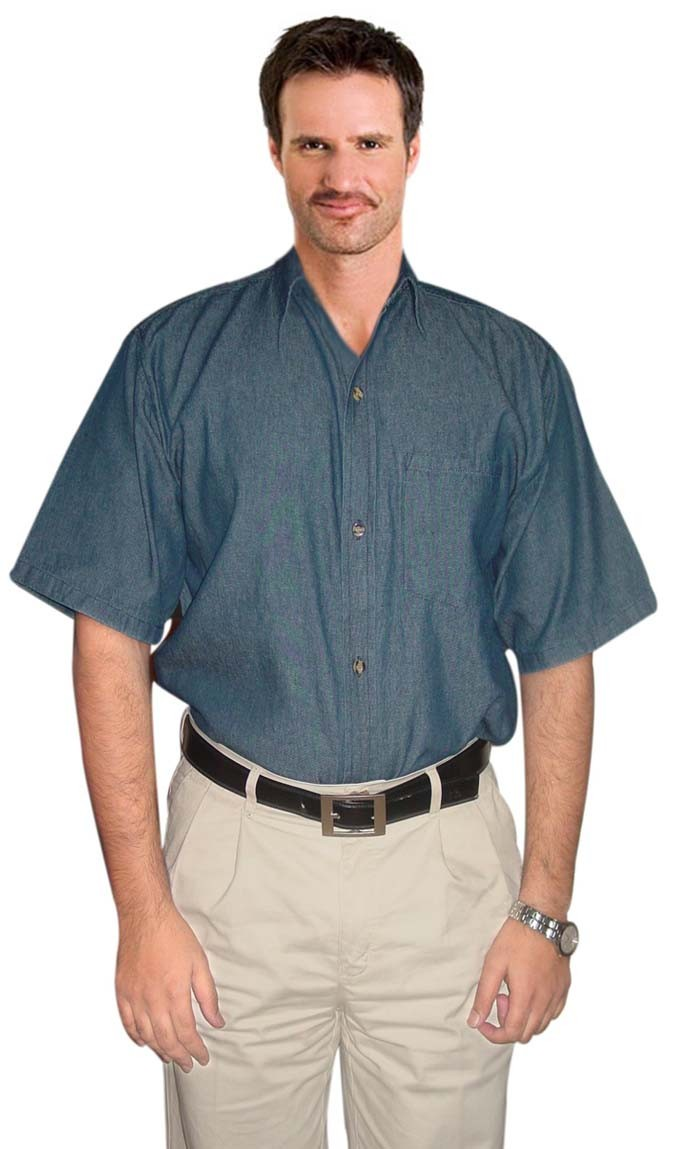 Unisex denim half sleeve shirt with 1 chest pocket in dark denim shade