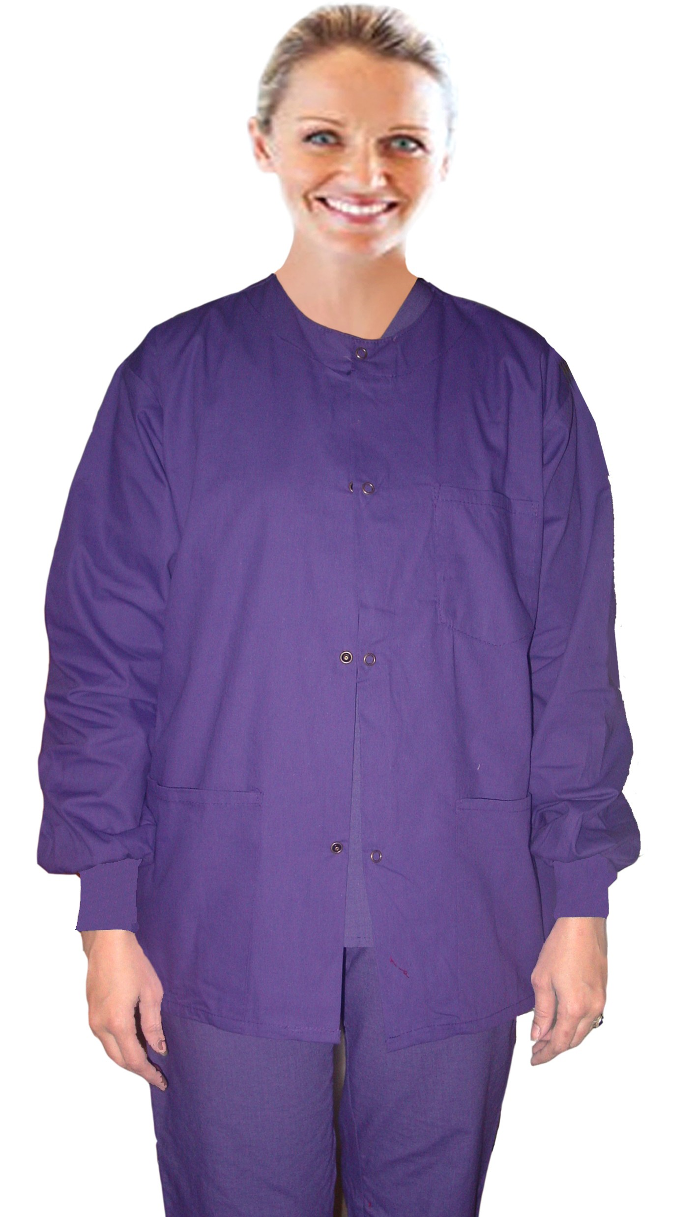 Clearance jacket 3 pocket solid unisex full sleeve with rib snap buttons in Light Royal color