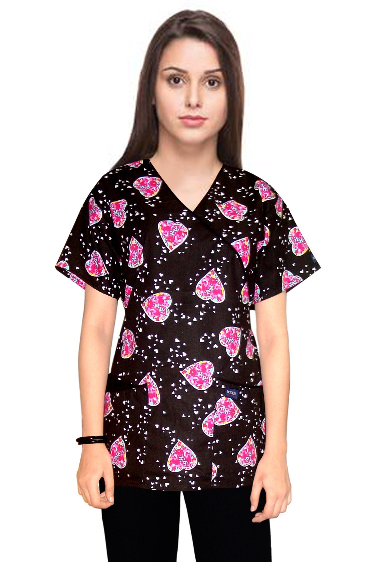 Printed scrub set mock wrap 5 pocket half sleeve in Pink Blue Big heart print with black piping  (top 3 pocket with bottom 2 pocket boot cut)