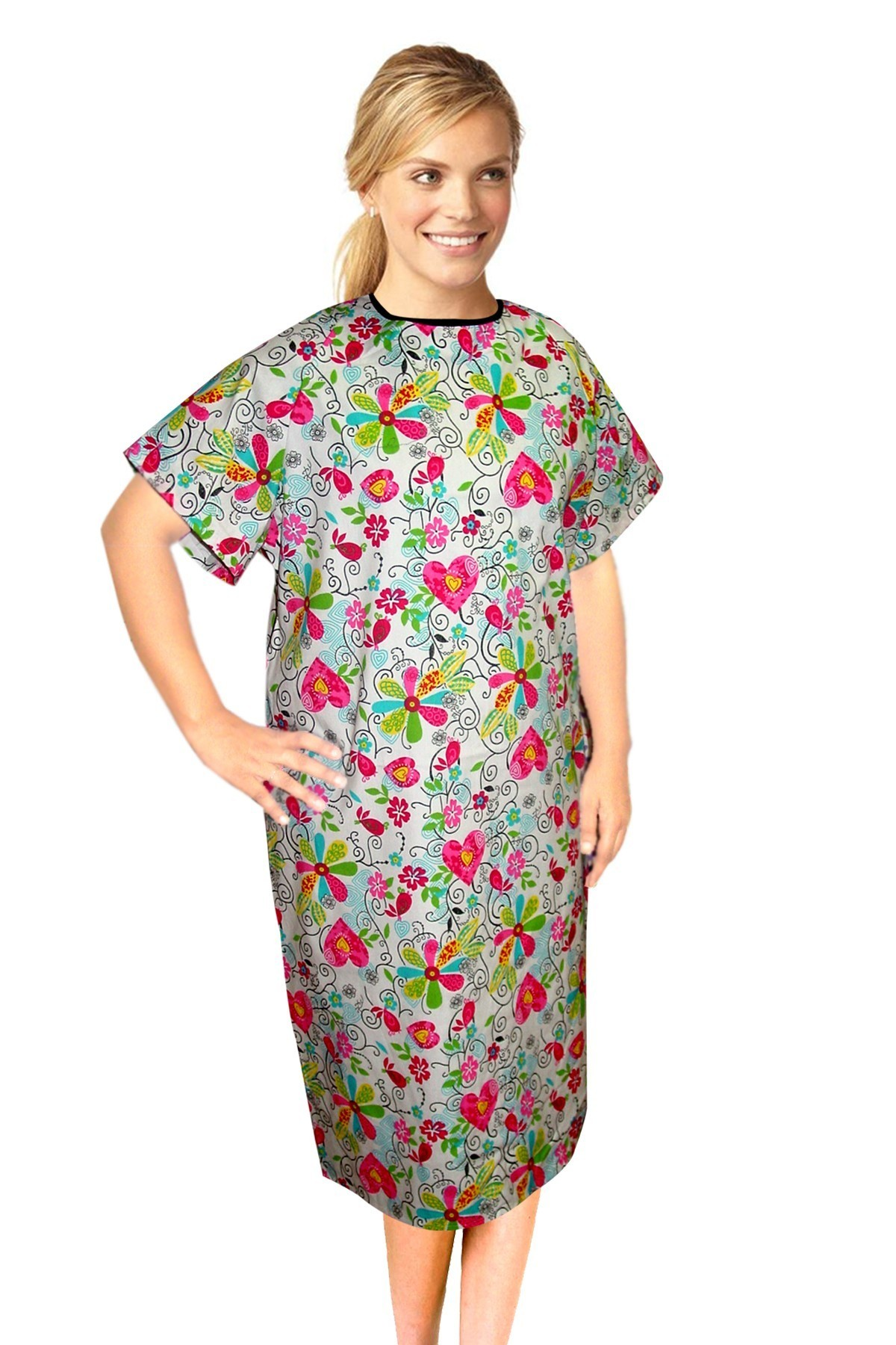 Patient gown half sleeve printed back open, tie-able  from two points in big heart flower Print Chest 54 Inches Length 45 inches $6.25 and Chest 80 inches Length 49 inches $9.25