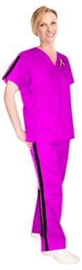 Pink ribbon double vertical style trim ladies 4 pocket set half sleeve  (top 3 pocket with bottom 1 pocket)