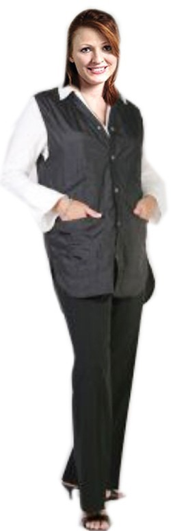 Barber jacket sleeve less ladies 2 front pocket with front snap button style (100 perc polyester) soft finish