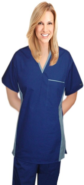 Microfiber scrub set unisex 4 pocket v-neck matching style solid half sleeve (top 1 pocket with bottom 3 pocket)